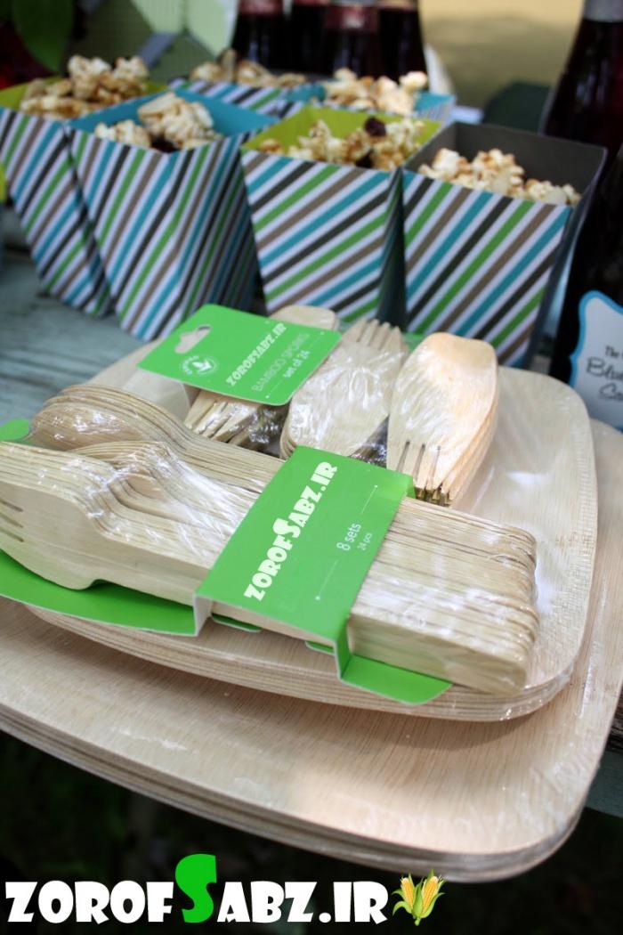قاشق چنگال گیاهی طرح چوب ظروف سبز