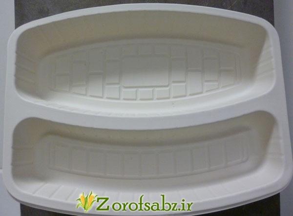 دیس غذای 2 خانه ظرف یکبار مصرف گیاهی دو قسمتی ظرف ماهی