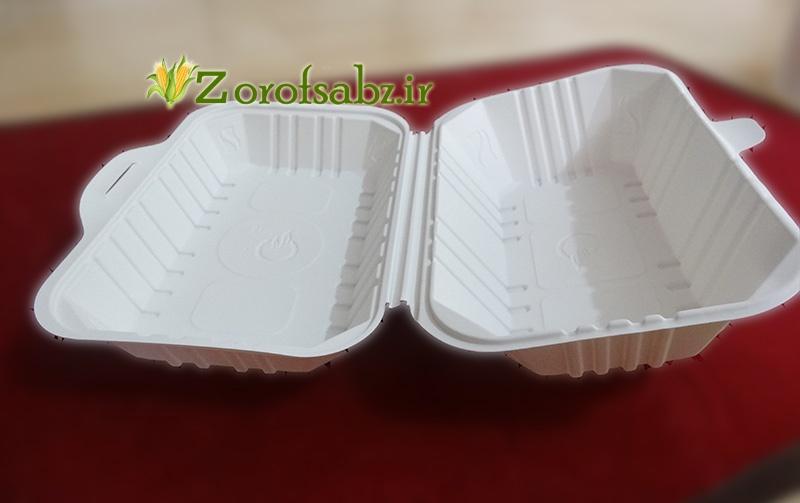 ظرف غذا در دار تک پرسی ظروف یکبار مصرف گیاهی