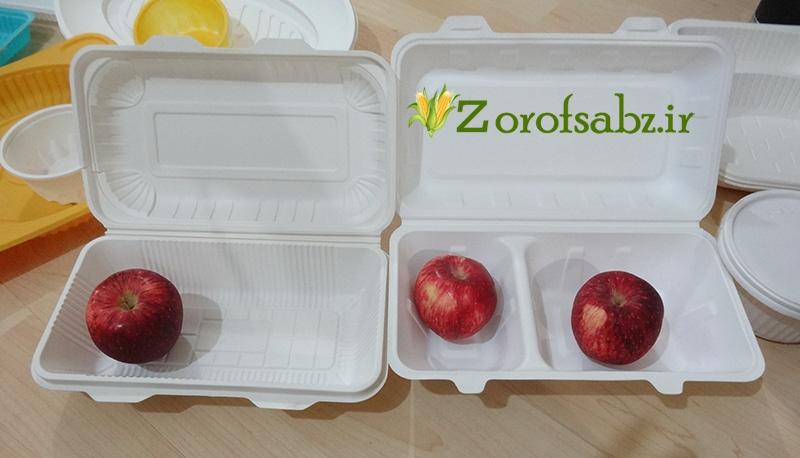 ظرف غذا در دار ظرف غذا تک پرسی ظروف یکبار مصرف گیاهی